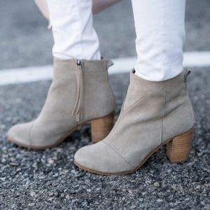 Toms Taupe Suede Lunata Heeled Booties